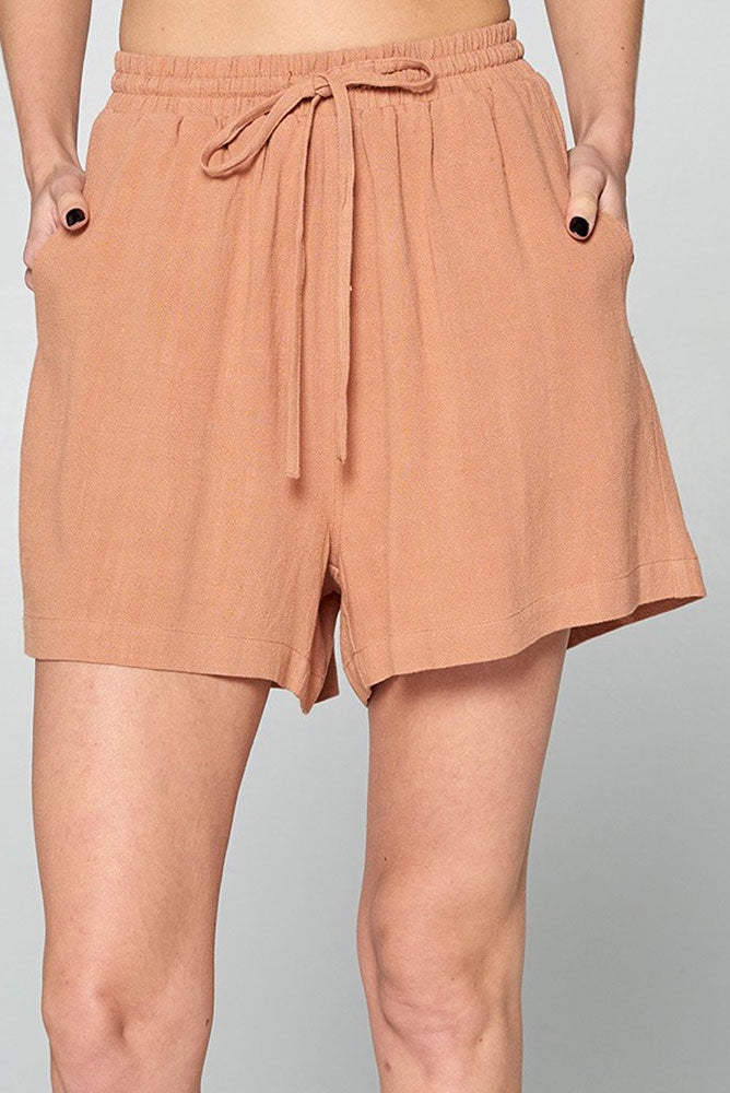 Self Tie Linen Blend Shorts - Online Clothing Boutique