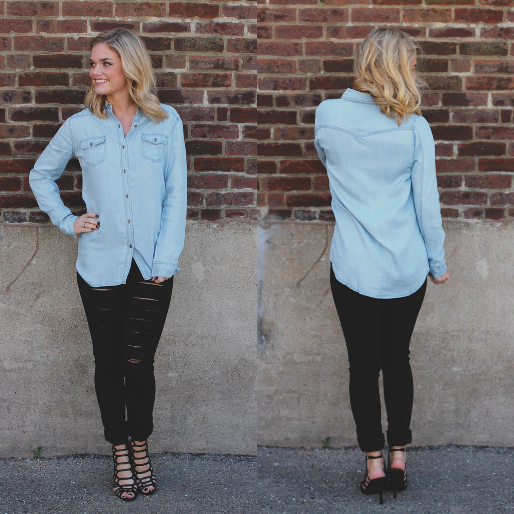 Chambray Metal Button Detail Collared Top