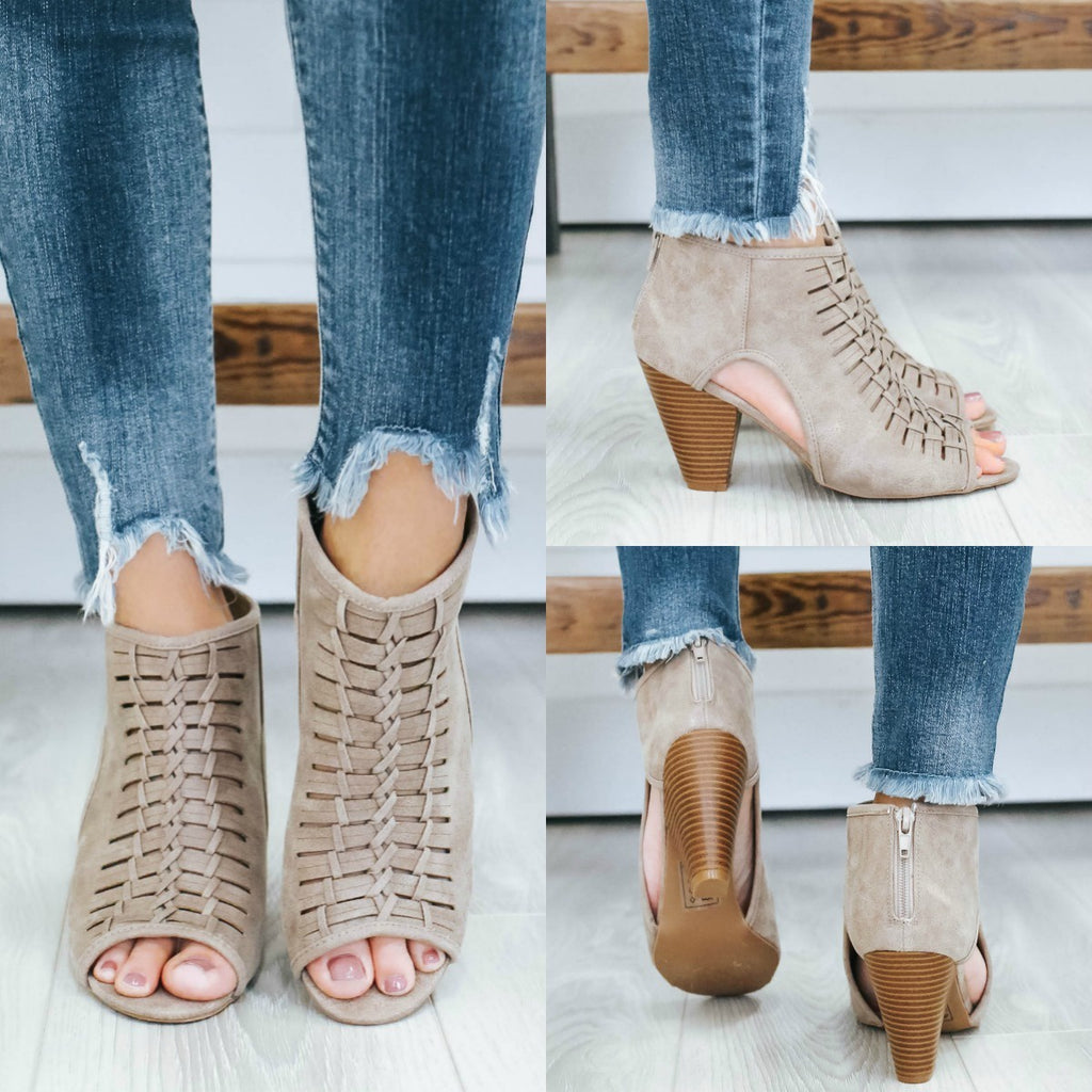 Chamber-37 Open Toe Booties - Online Clothing Boutique