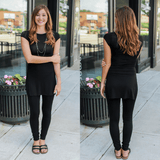 Black Cap Sleeve Round Neck High Side Slits Tunic