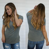 Short Sleeve V Neck Tee - Online Clothing Boutique
