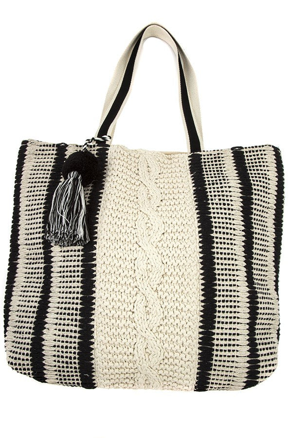 Oversized Macrame Tote - Online Clothing Boutique