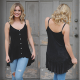 Floral Trim Ruffle Detail Button Accent Cami Strap Top
