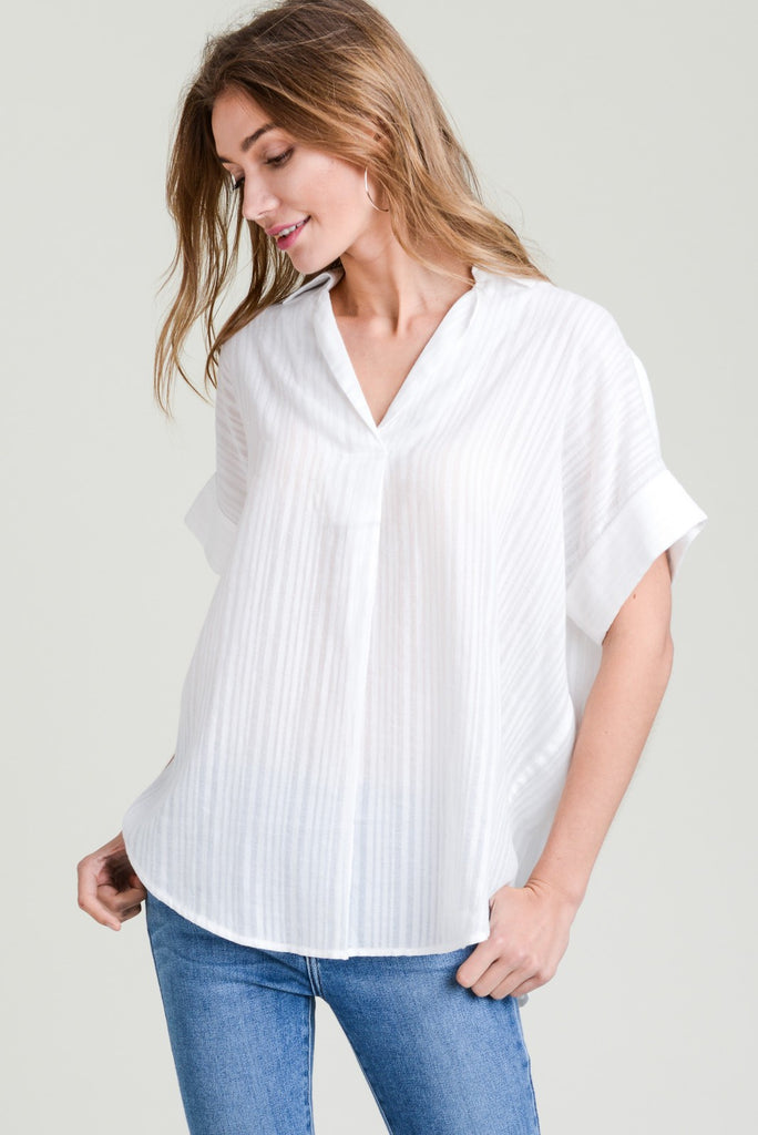 White Striped Top - Online Clothing Boutique
