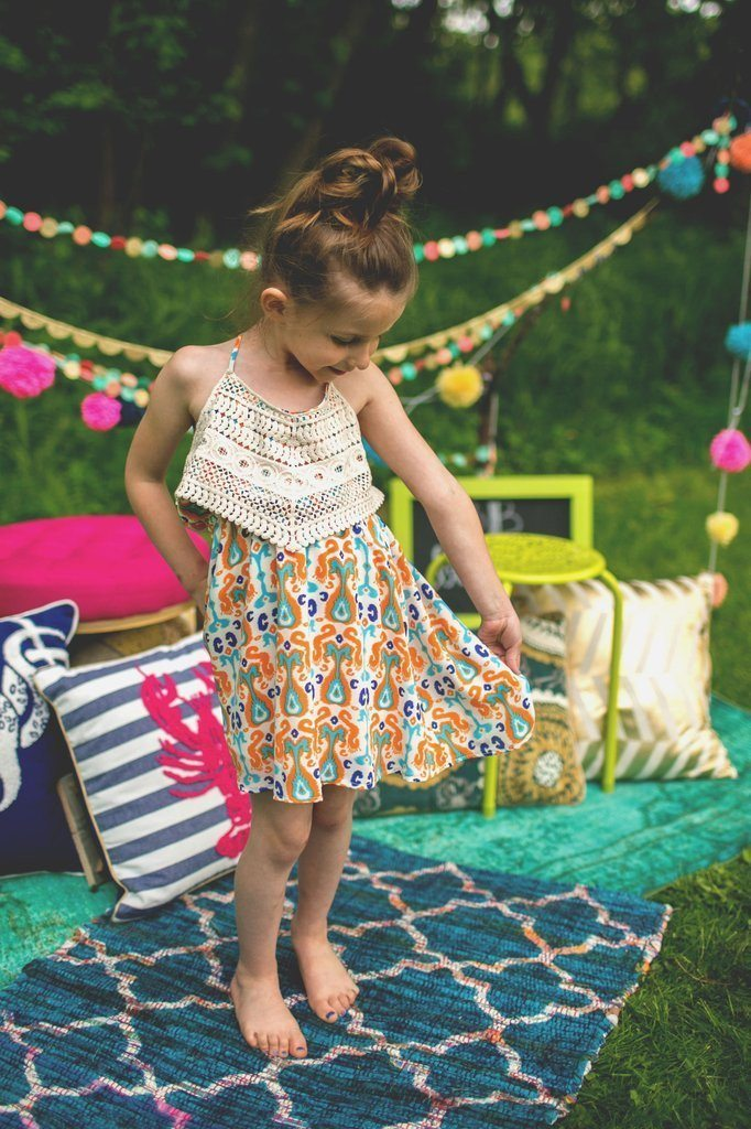 Girl's Boho Orange Printed Dress