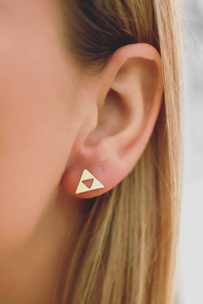 Triangle Cut Out Stud Earrings
