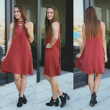 Marsala Mineral Wash Deep V Lace Up Front Trapeze Dress