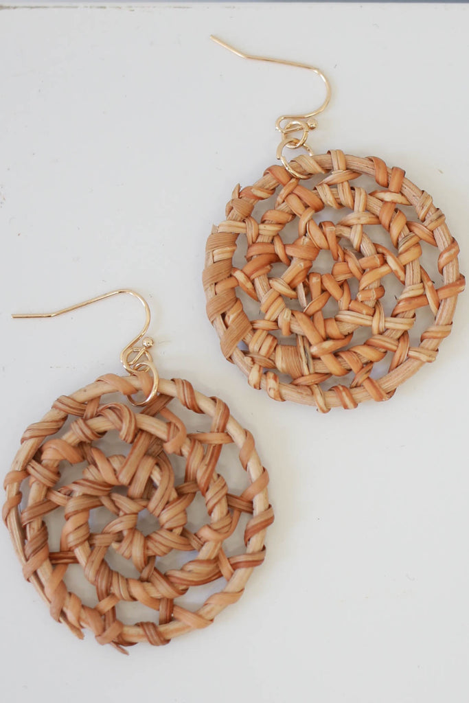 Woven Wood Circle Earrings - Online Clothing Boutique