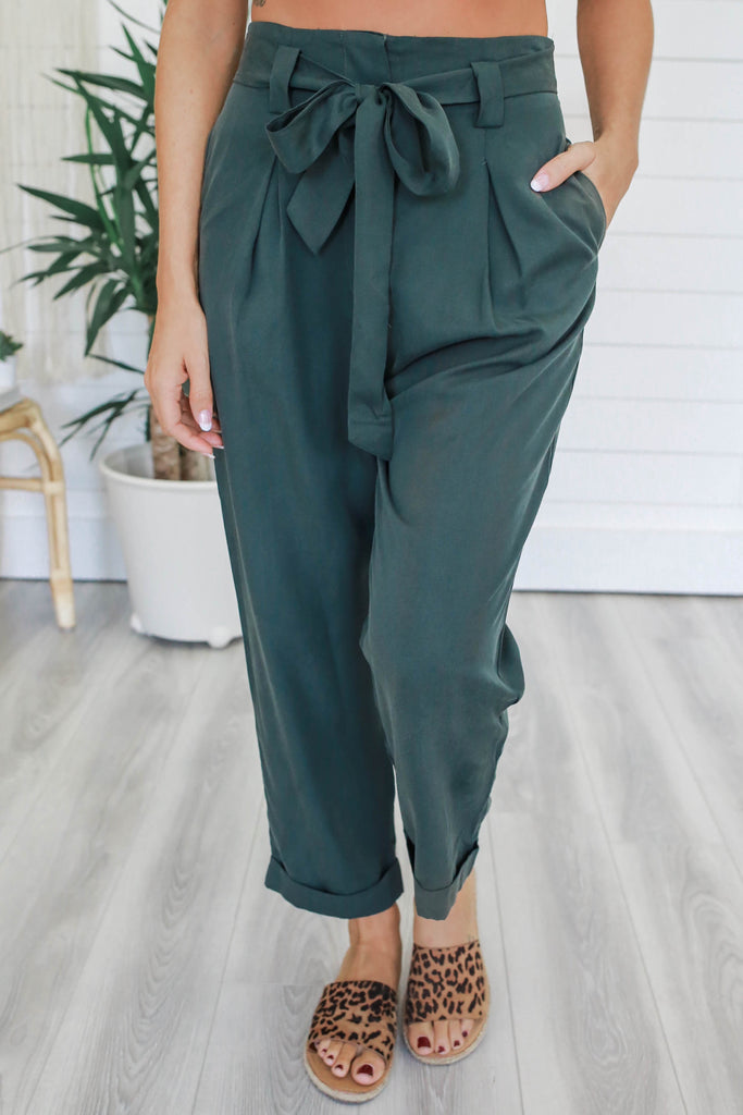 High Waisted Pleated Pants - Online Clothing Boutique