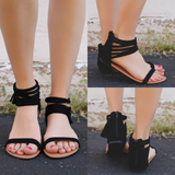 Black Strappy Caged Ankle Faux Suede Sandals Archer-166