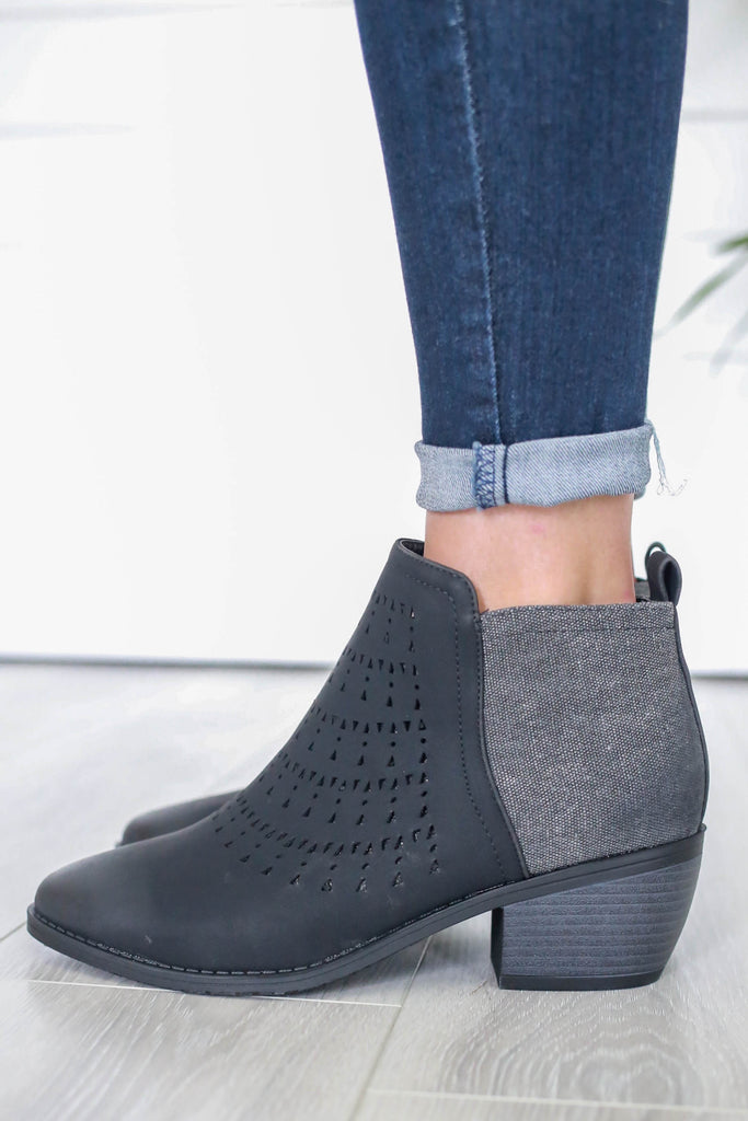 Victoria-4 Faux Leather Ankle Booties - Online Clothing Boutique