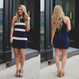 Lace Stripe Square Neck Cami Strap Bodycon Dress