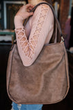 Faux Leather Shoulder Bag Woven Accented Sides Purse
