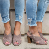 Devin-11 Faux Suede Heeled Sandals - Online Clothing Boutique