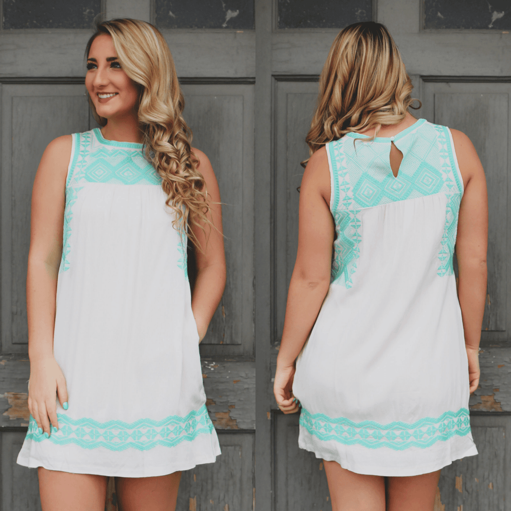 Ivory Keyhole Back Embroidered Pocketed Shift Dress
