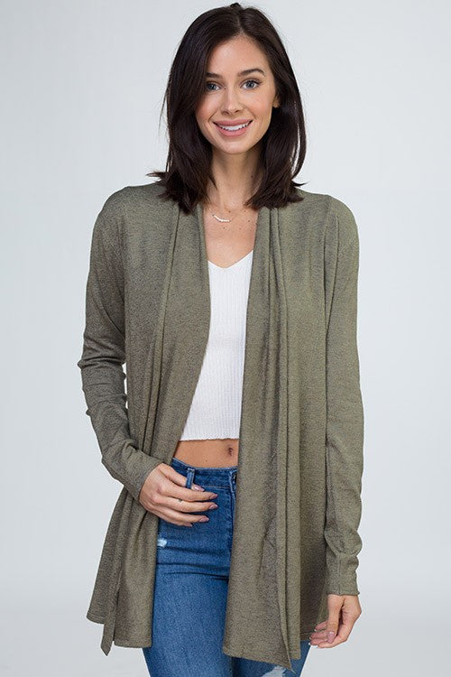 Long Sleeve Ribbed Knit Cardigan - Online Clothing Boutique