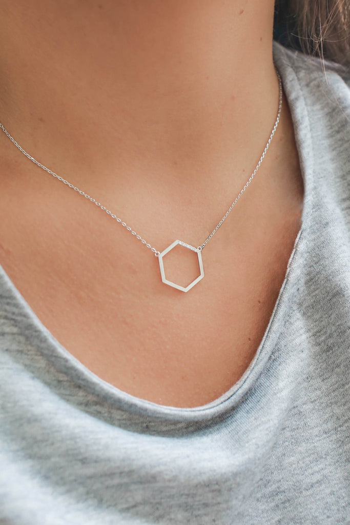 Silver Hexagon Necklace - Online Clothing Boutique