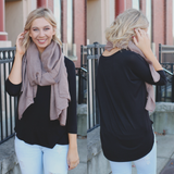 Black 3/4 Dolman Sleeve Round Neck Top