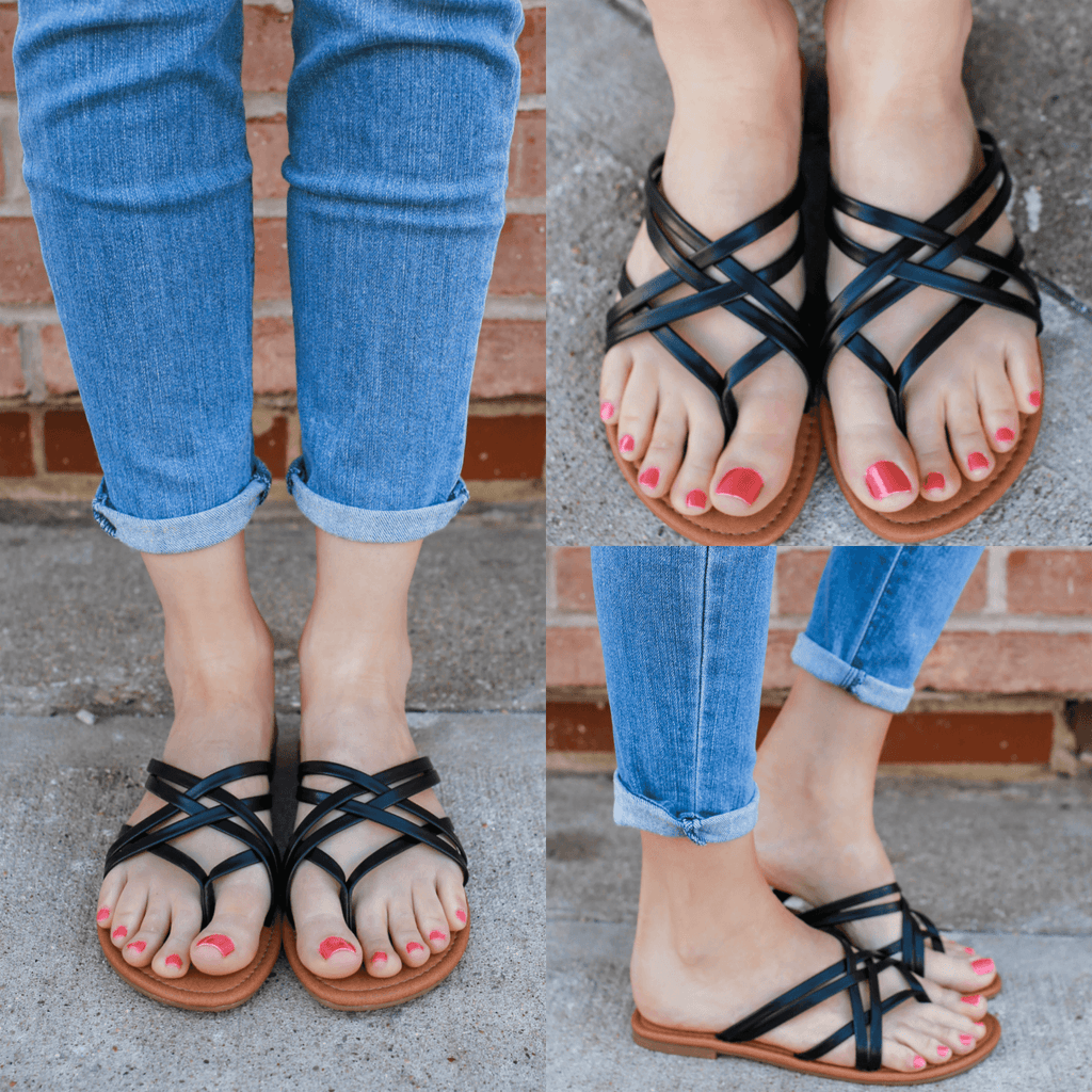Black Faux Leather Strappy Flat Boho Sandals Denver-s