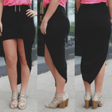 Wrapped Elastic Waist Asymmetric Hem Mini Skirt