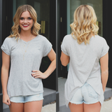 Ribbed Knit Cuffed Short Sleeve Fly Away Back Top