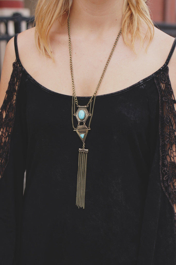 Brass Long Line Statement Turquoise Stone Necklace