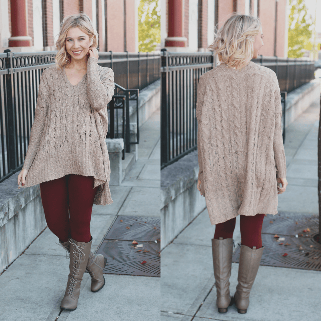 Mocha Deep V-Neck Side Slit Oversized Knit Sweater