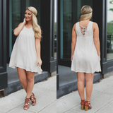 Round Neck Lace Up Back Lace Detail Flowy Dress