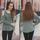 Long Sleeve Cold Shoulder Waffle Knit Mineral Wash Top