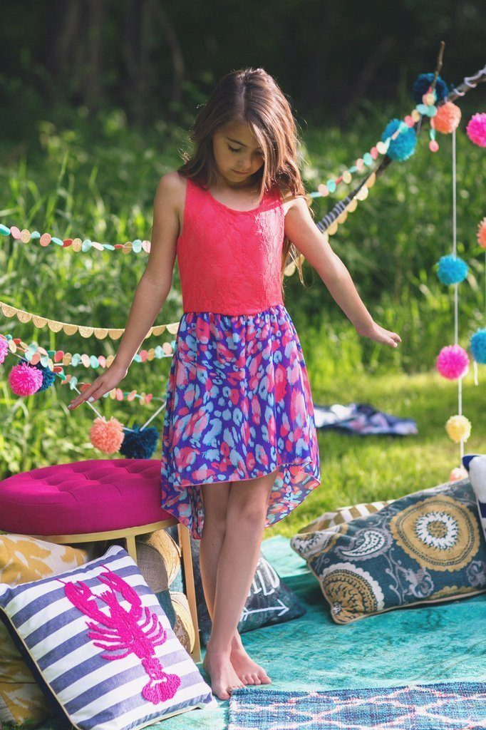 Kids Coral Hi-Low Cheetah Print Dress