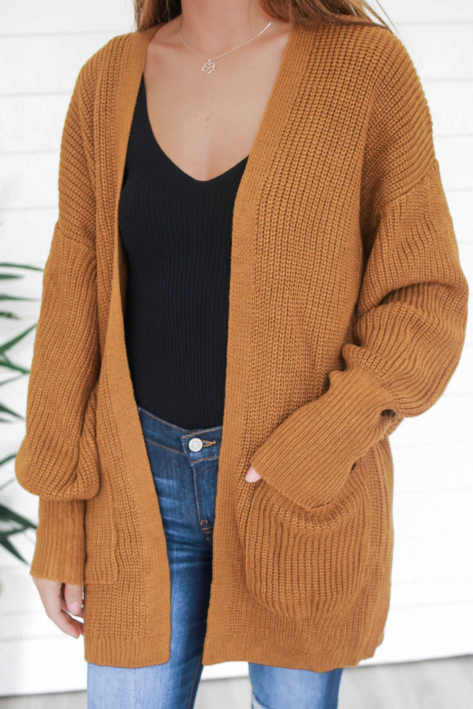 Bishop Sleeve Knit Cardigan - Online Clothing Boutique