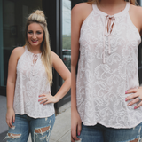 Blush Paisley Embroidery Keyhole Neck Sleeveless Top