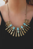 Aqua and Gold Matchstick Pendant Statement Necklace