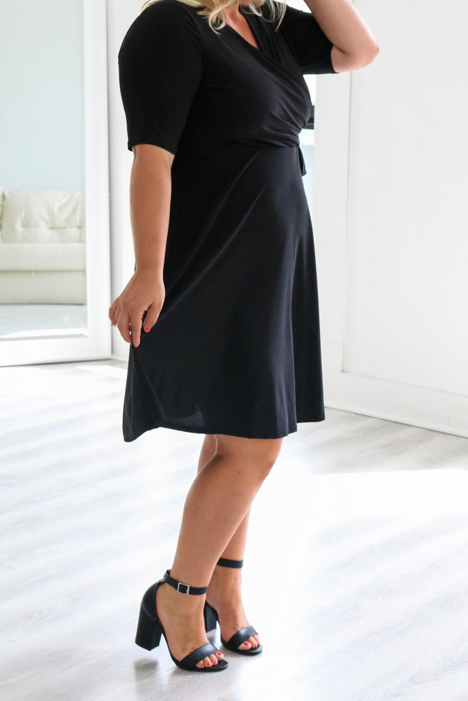 Plus Size Faux Wrap Dress - Online Clothing Boutique
