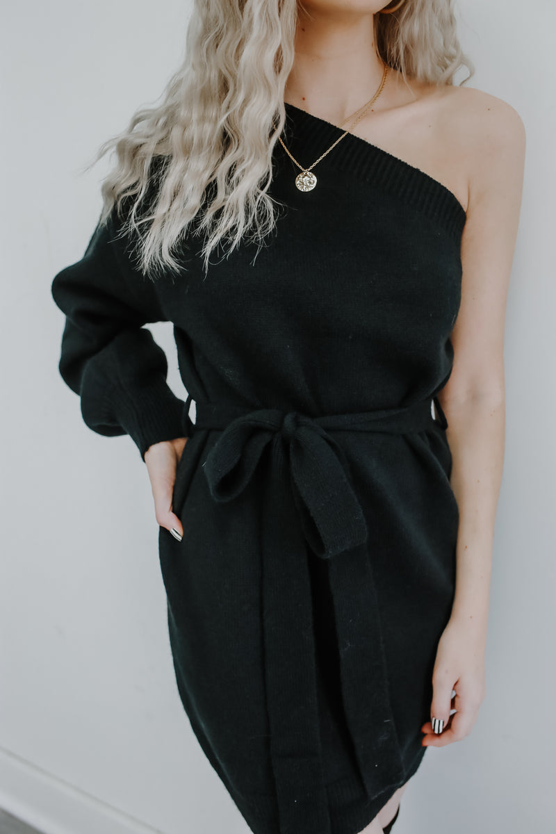 Long Sleeve One Shoulder Knit Sweater Dress | Stylish & Affordable | UOI Online