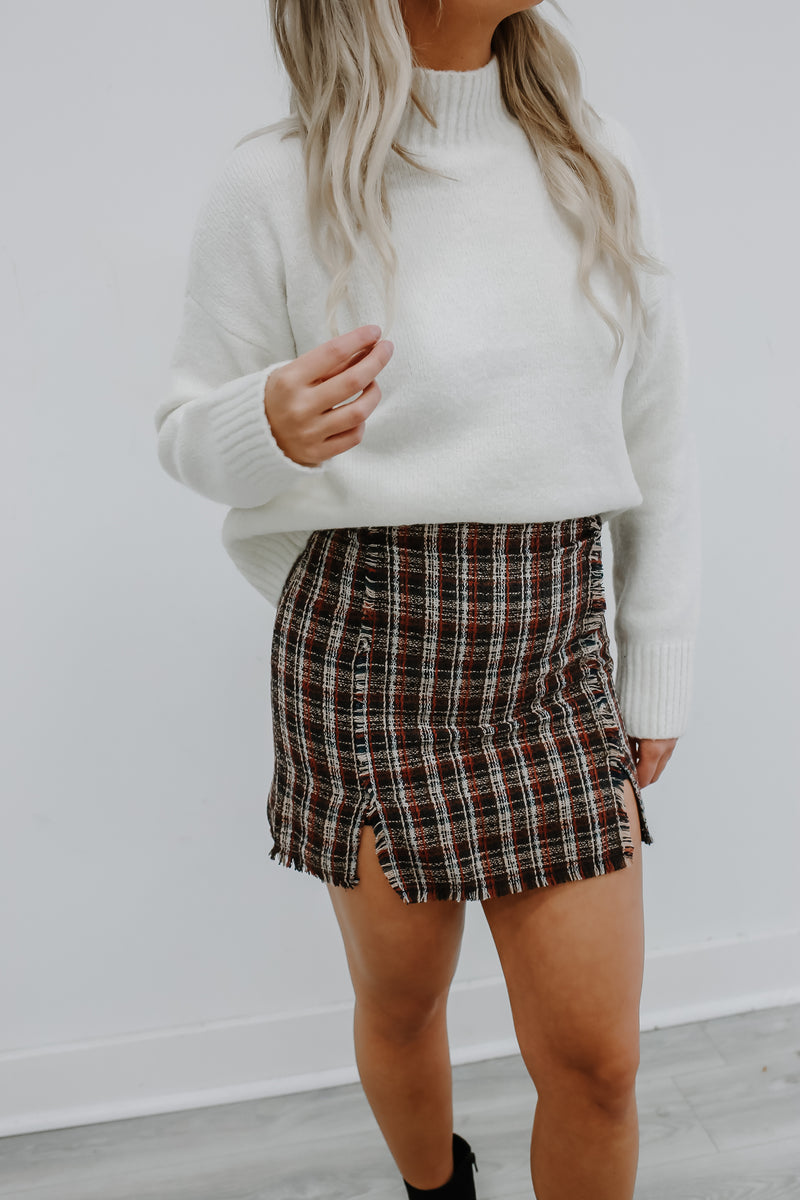 Paperback Writer Woven Plaid Mini Skirt | Stylish & Affordable | UOI Online