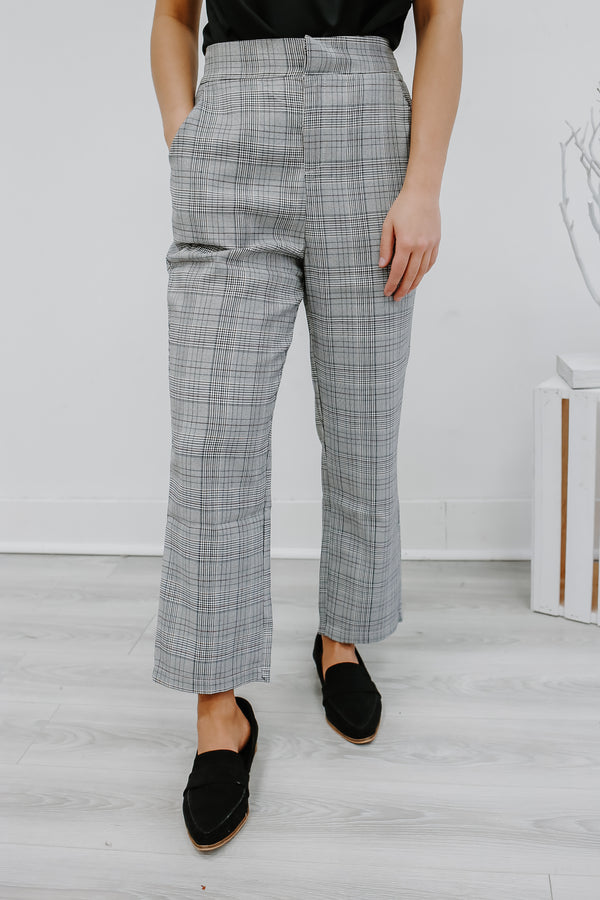 High Rise Cropped Plaid Pants | Stylish & Affordable | UOI Online