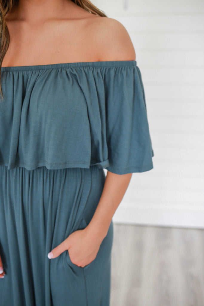 Off The Shoulder Maxi Dress - Online Clothing Boutique