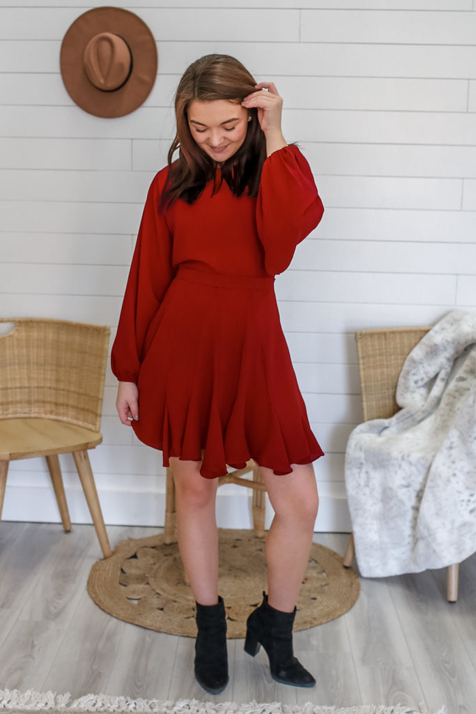 Bishop Sleeve Swing Dress | Stylish & Affordable | UOI Online