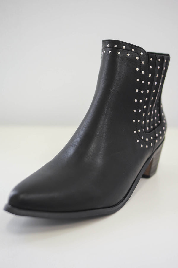 Faux Leather Studded Booties | Stylish & Affordable | UOI Online