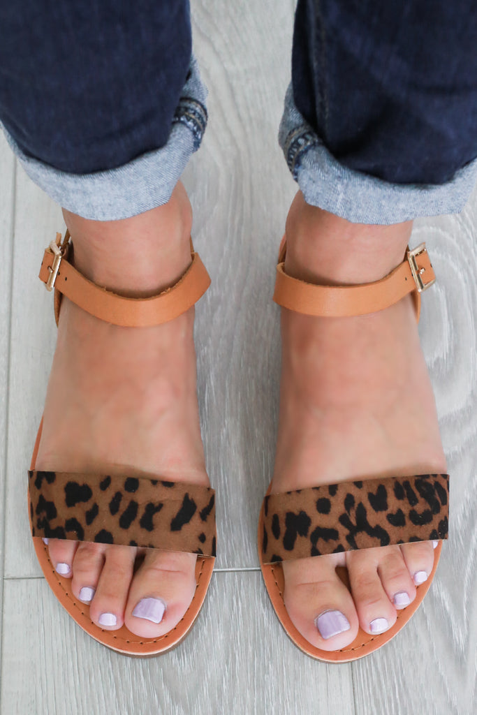 Leopard Flat Sandals - Online Clothing Boutique