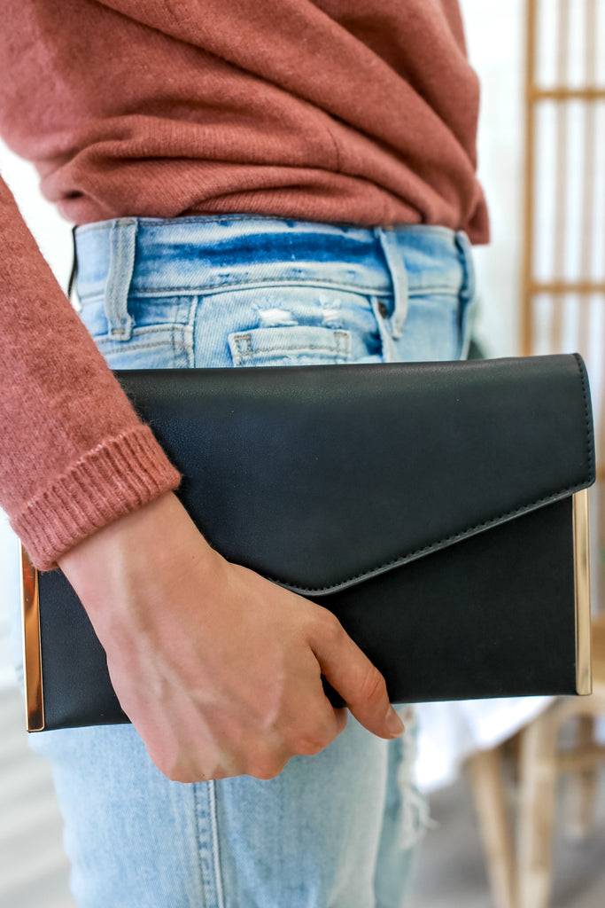 Faux Leather Envelope Clutch | Stylish & Affordable | UOI Online