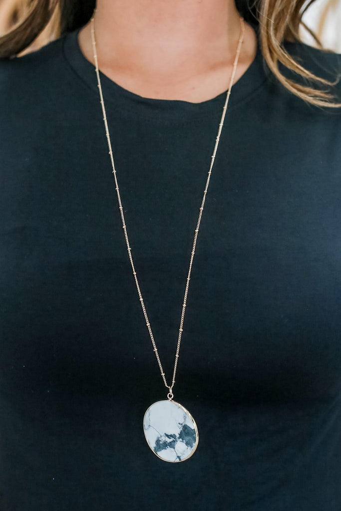 Longline Faux Stone Pendant Necklace | Stylish & Affordable | UOI Online