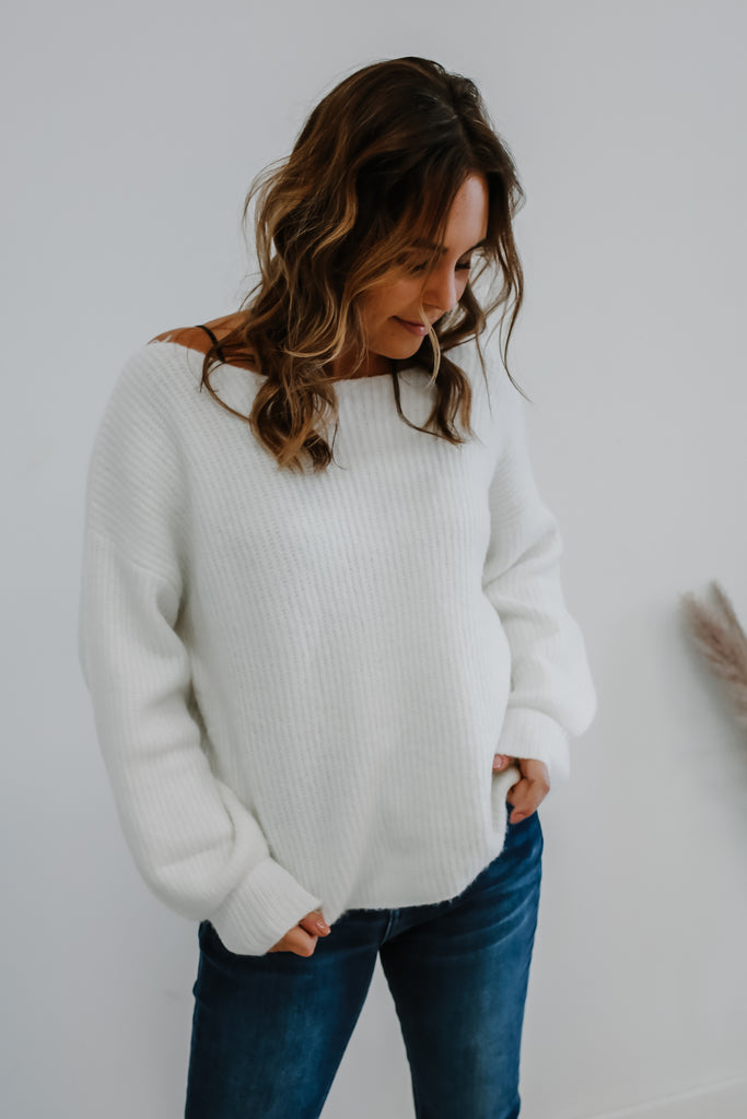 Long Balloon Sleeve Boat Neck Knit Sweater | Stylish & Affordable | UOI Online