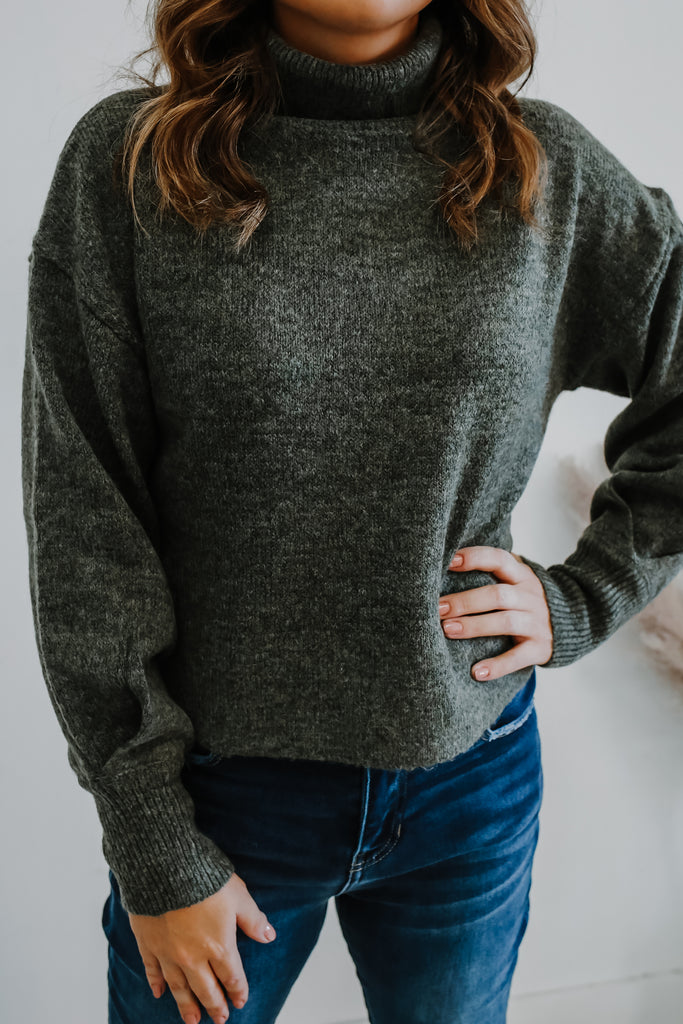 Cropped Turtle Neck Knit Sweater | Stylish & Affordable | UOI Online