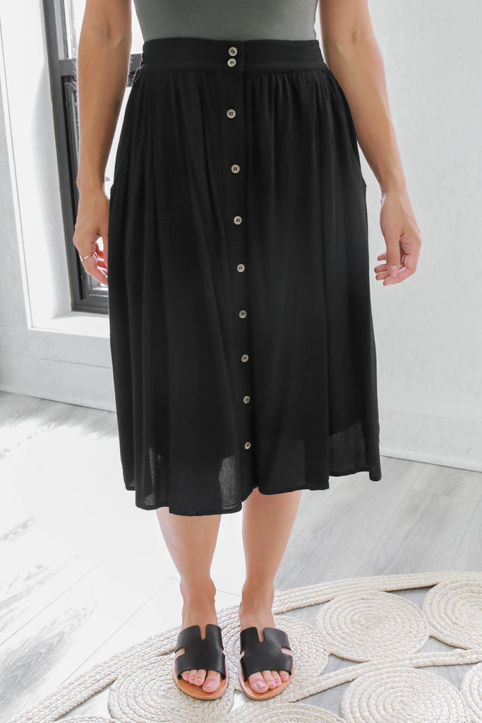 Button Down Midi Skirt - Online Clothing Boutique