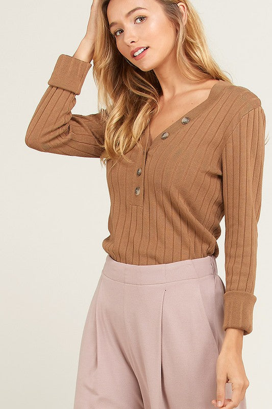 Wide Ribbed Button Up Sweater | Stylish & Affordable | UOI Online