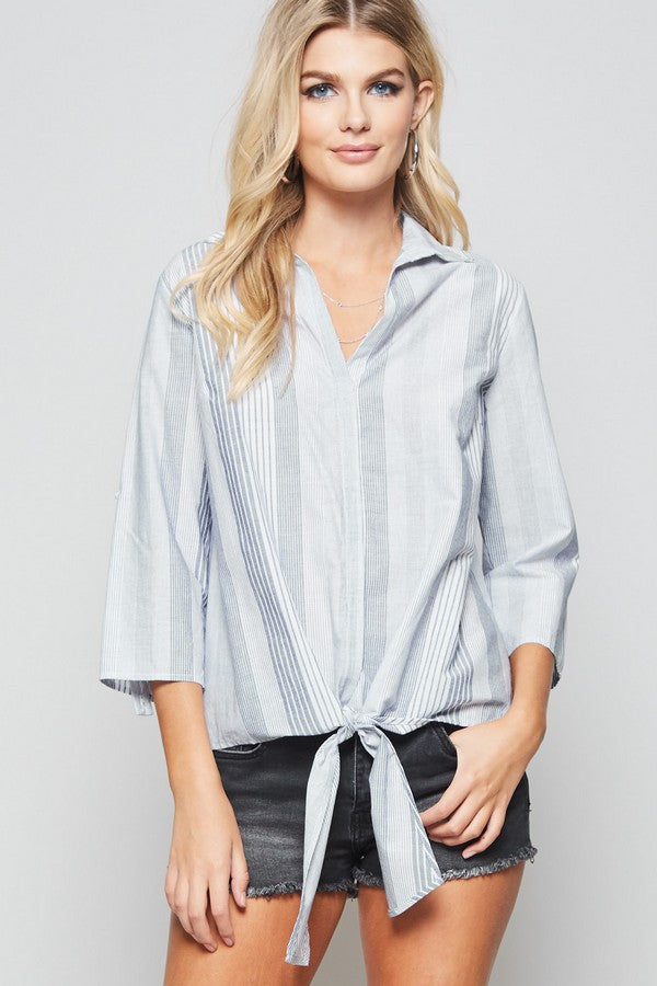 Striped Tie Front Button Up Top - Online Clothing Boutique
