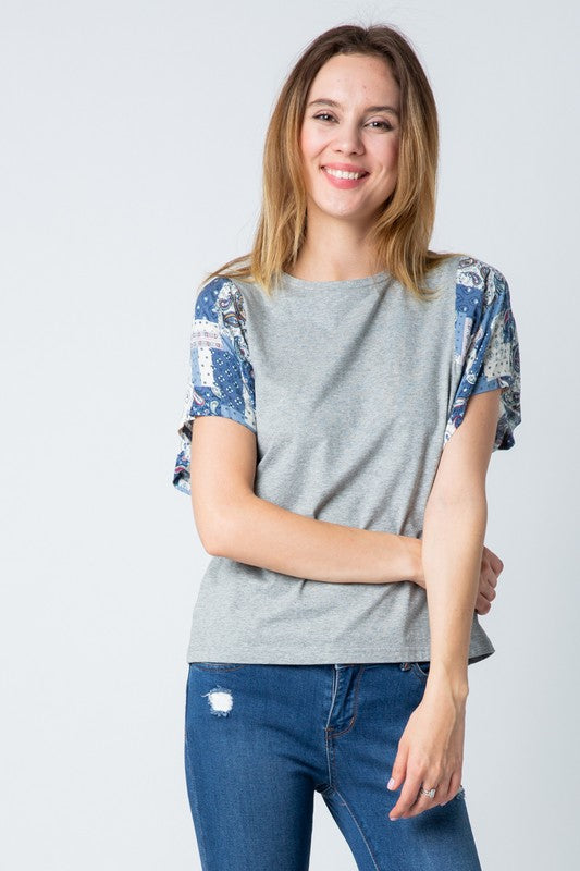 Contrasting Sleeve Top - Online Clothing Boutique