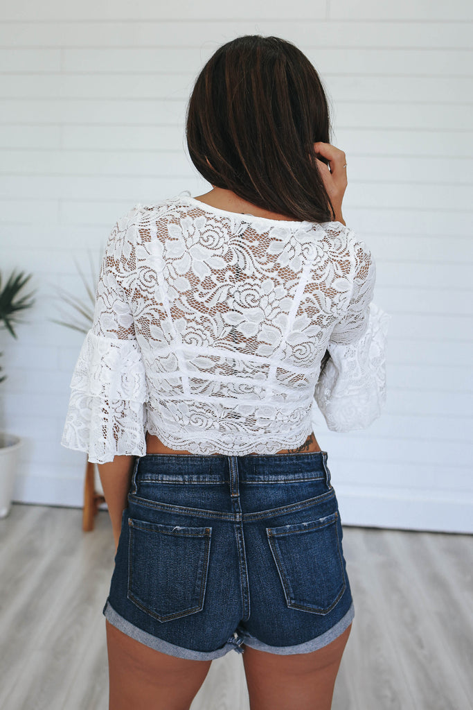 Bell Sleeve Lace Crop Top - Online Clothing Boutique
